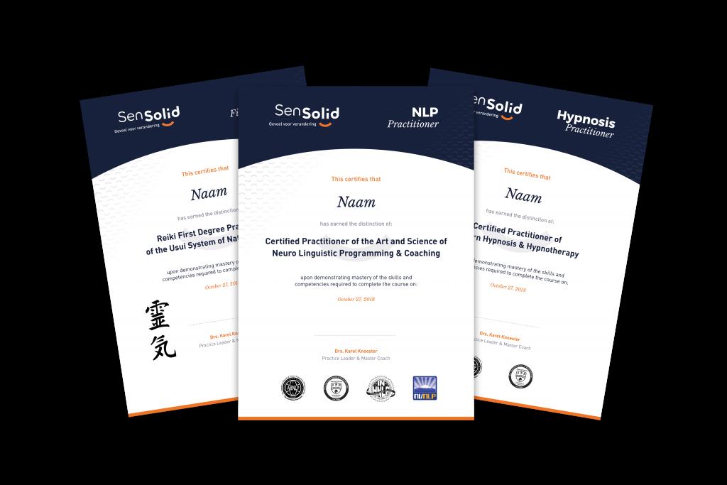 Met de NLP Practitioner & Coaching behaal je 3 certificaten: De NLP Practitioner, Hypnosis Practitioner en Reiki 1.